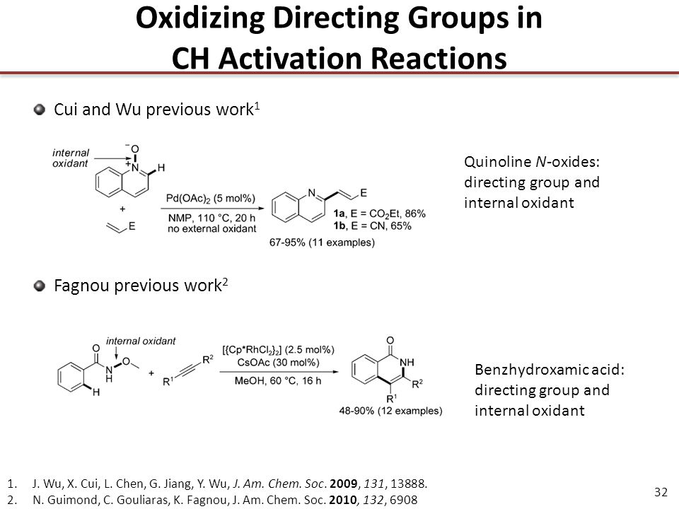 32 Oxidizing Directing Groups in CH Activation Reactions Cui and Wu previous work 1 1.J.