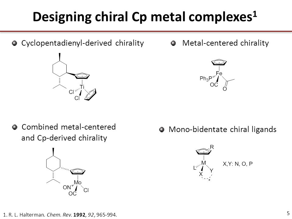 5 Designing chiral Cp metal complexes 1 1. R. L.