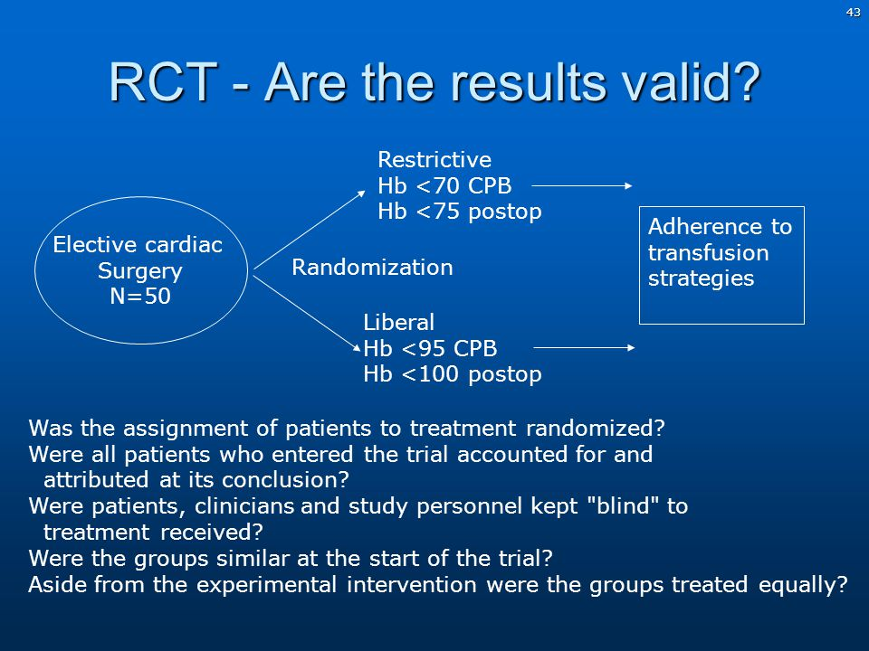 43 RCT - Are the results valid.