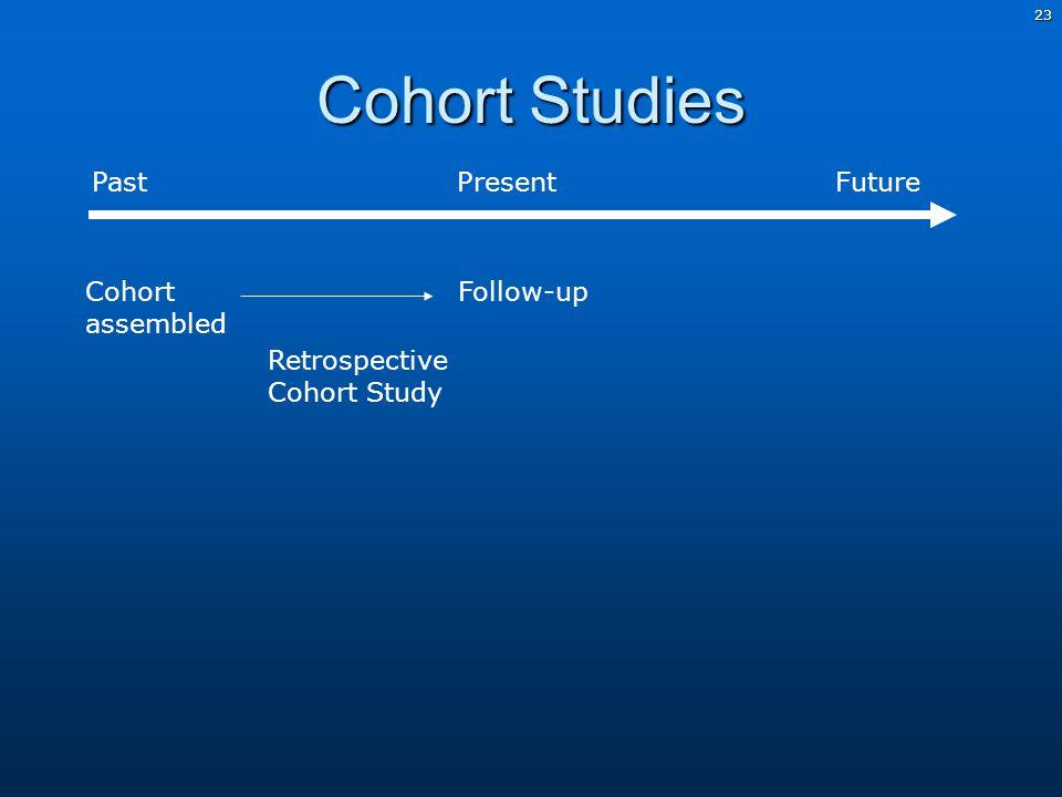 23 Cohort Studies Past PresentFuture Follow-up Cohort assembled Retrospective Cohort Study
