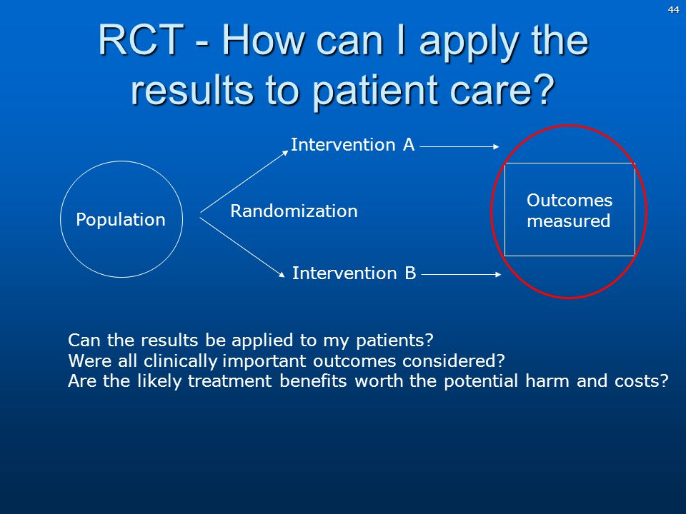 44 RCT - How can I apply the results to patient care.