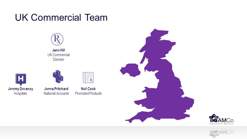 UK Commercial Team Jane Hill UK Commercial Director Jeremy Devaney Hospitals Jenna Pritchard National Accounts Neil Cook Promoted Products