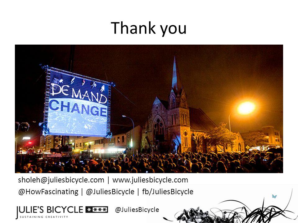 @JuliesBicycle Thank you sholeh@juliesbicycle.com | www.juliesbicycle.com @HowFascinating | @JuliesBicycle | fb/JuliesBicycle