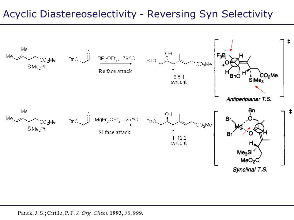 Acyclic Diastereoselectivity - Reversing Syn Selectivity Panek, J. S.; Cirillo, P. F. J. Org. Chem. 1993, 58, 999. Re face attack Si face attack
