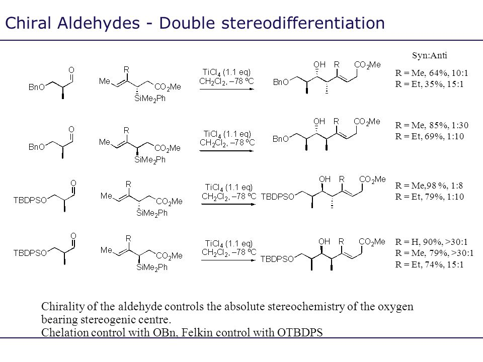 Chiral Aldehydes - Double stereodifferentiation Chirality of the aldehyde controls the absolute stereochemistry of the oxygen bearing stereogenic cent