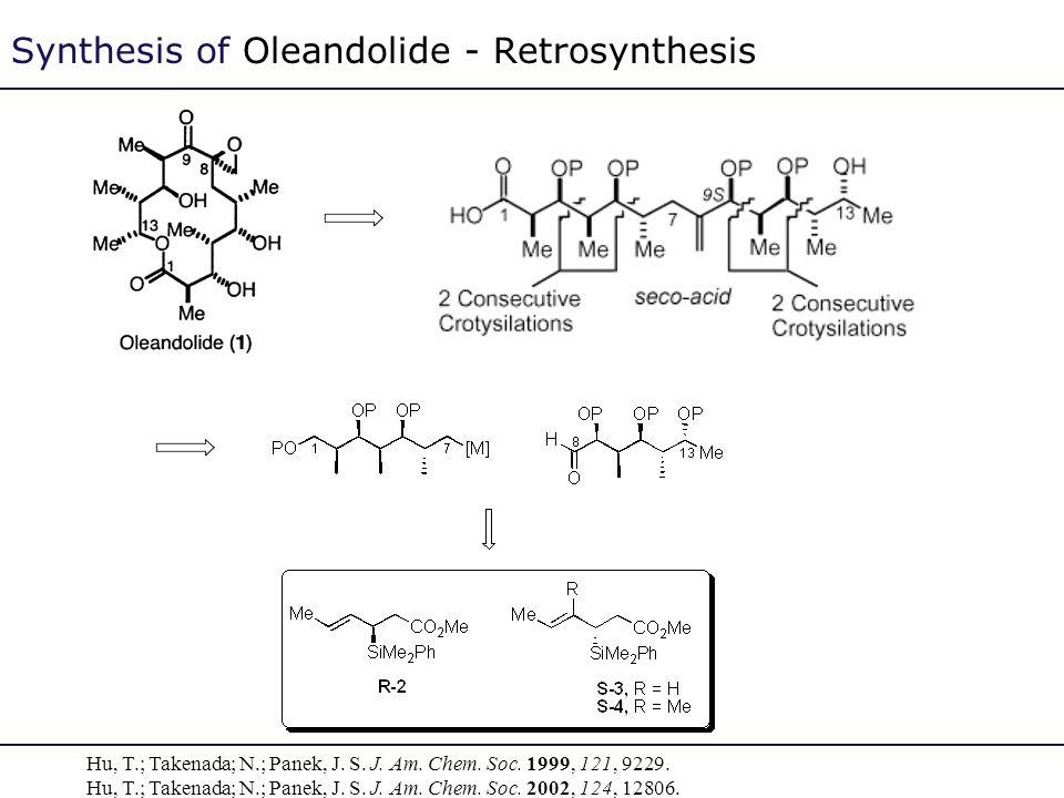 Synthesis of Oleandolide - Retrosynthesis Hu, T.; Takenada; N.; Panek, J. S. J. Am. Chem. Soc. 1999, 121, 9229. Hu, T.; Takenada; N.; Panek, J. S. J.