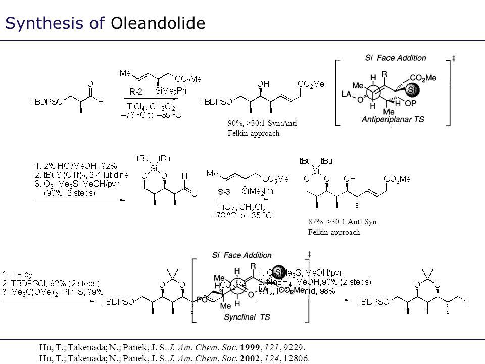 Synthesis of Oleandolide Hu, T.; Takenada; N.; Panek, J. S. J. Am. Chem. Soc. 1999, 121, 9229. Hu, T.; Takenada; N.; Panek, J. S. J. Am. Chem. Soc. 20