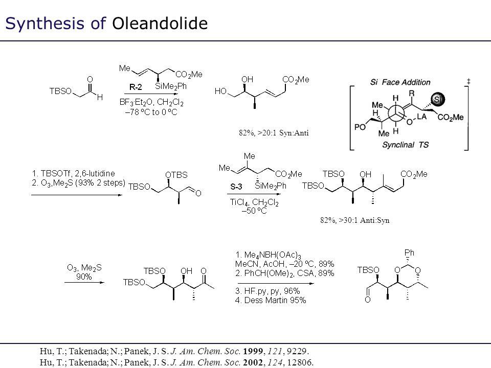 Synthesis of Oleandolide 82%, >30:1 Anti:Syn 82%, >20:1 Syn:Anti Hu, T.; Takenada; N.; Panek, J. S. J. Am. Chem. Soc. 1999, 121, 9229. Hu, T.; Takenad