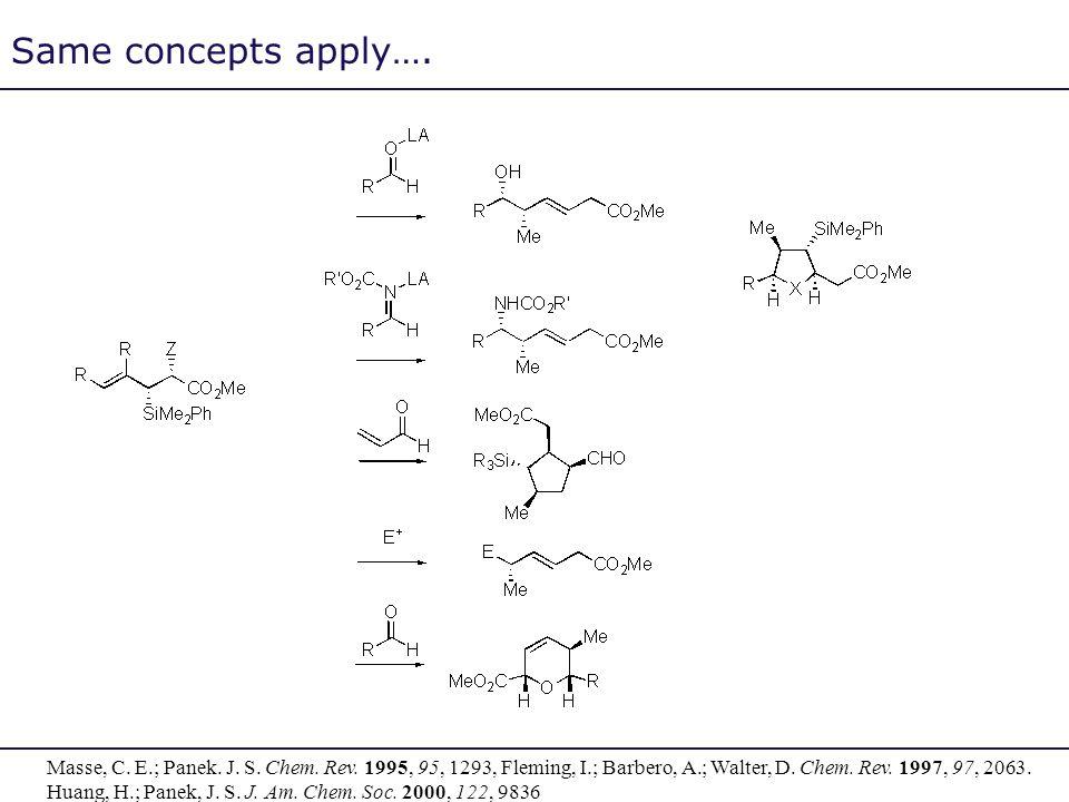 Same concepts apply…. Masse, C. E.; Panek. J. S. Chem. Rev. 1995, 95, 1293, Fleming, I.; Barbero, A.; Walter, D. Chem. Rev. 1997, 97, 2063. Huang, H.;