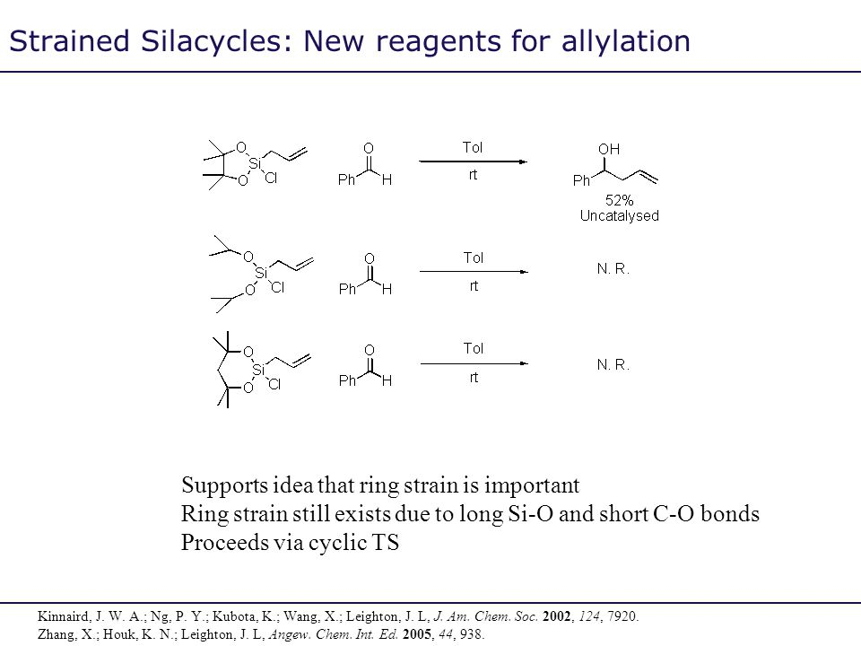 Strained Silacycles: New reagents for allylation Supports idea that ring strain is important Ring strain still exists due to long Si-O and short C-O b