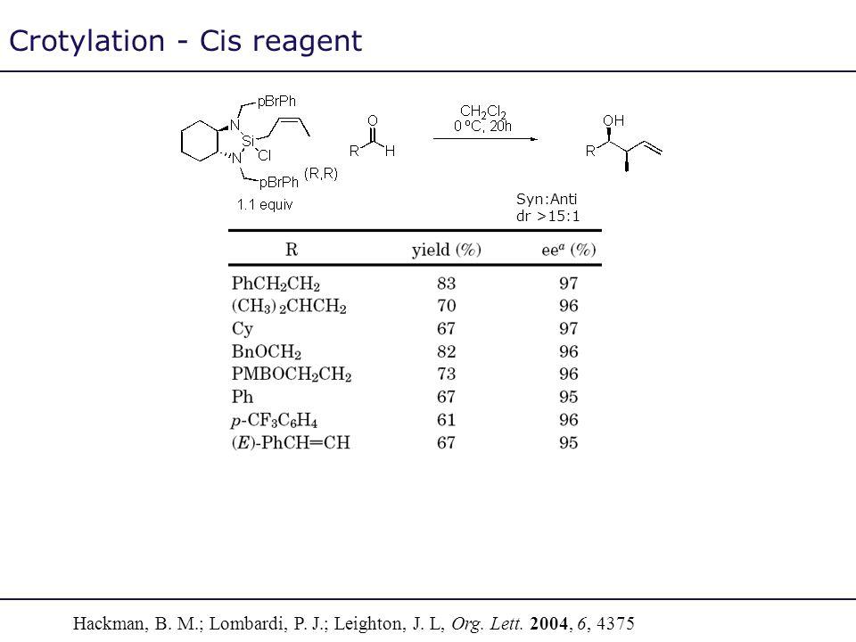 Crotylation - Cis reagent Hackman, B. M.; Lombardi, P. J.; Leighton, J. L, Org. Lett. 2004, 6, 4375 Syn:Anti dr >15:1