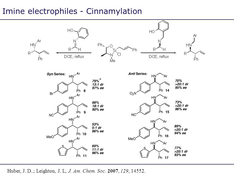 Imine electrophiles - Cinnamylation Huber, J. D..; Leighton, J. L, J. Am. Chem. Soc. 2007, 129, 14552.
