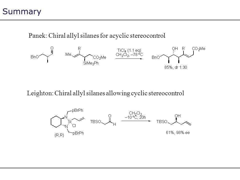 Summary Panek: Chiral allyl silanes for acyclic stereocontrol Leighton: Chiral allyl silanes allowing cyclic stereocontrol