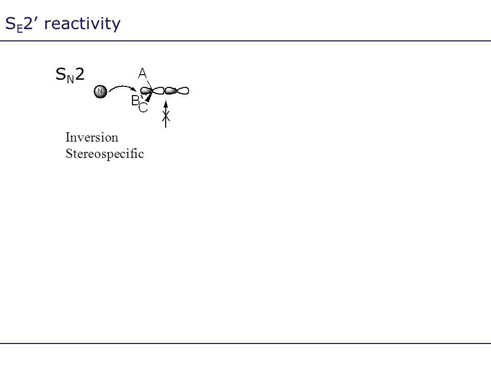 S E 2' reactivity SN2SN2 Inversion Stereospecific