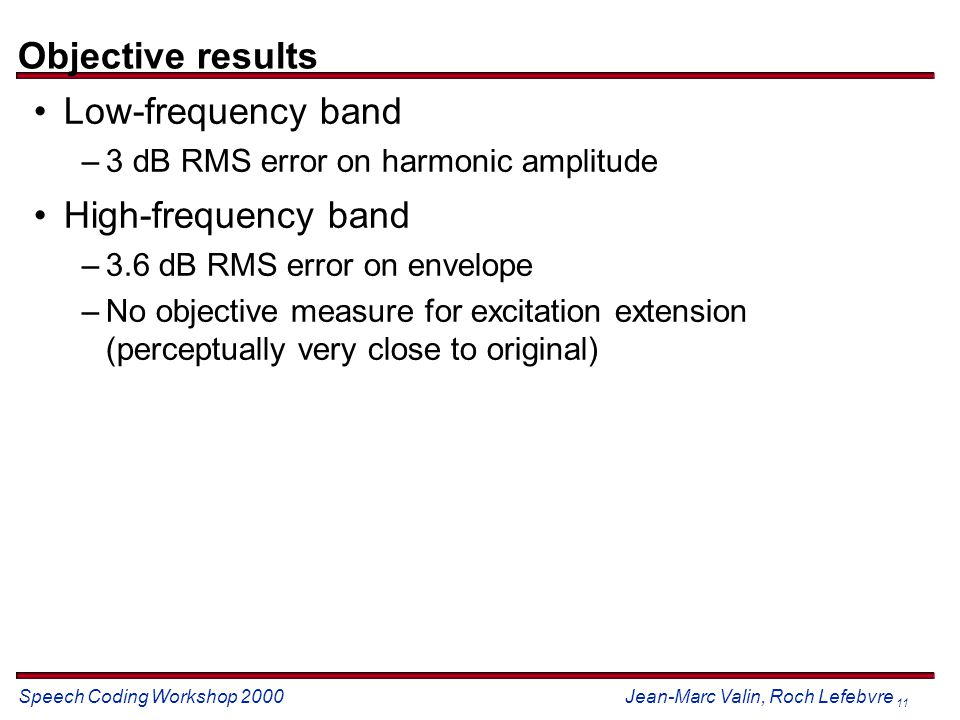 Speech Coding Workshop 2000 Jean-Marc Valin, Roch Lefebvre 11 Objective results Low-frequency band –3 dB RMS error on harmonic amplitude High-frequency band –3.6 dB RMS error on envelope –No objective measure for excitation extension (perceptually very close to original)