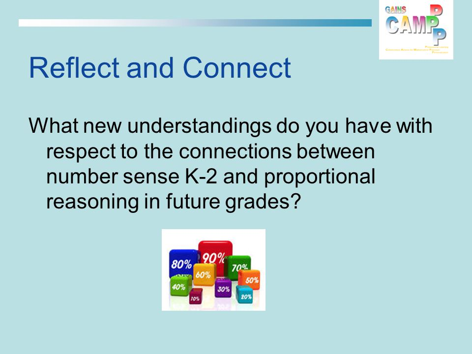 Reflect and Connect What new understandings do you have with respect to the connections between number sense K-2 and proportional reasoning in future grades