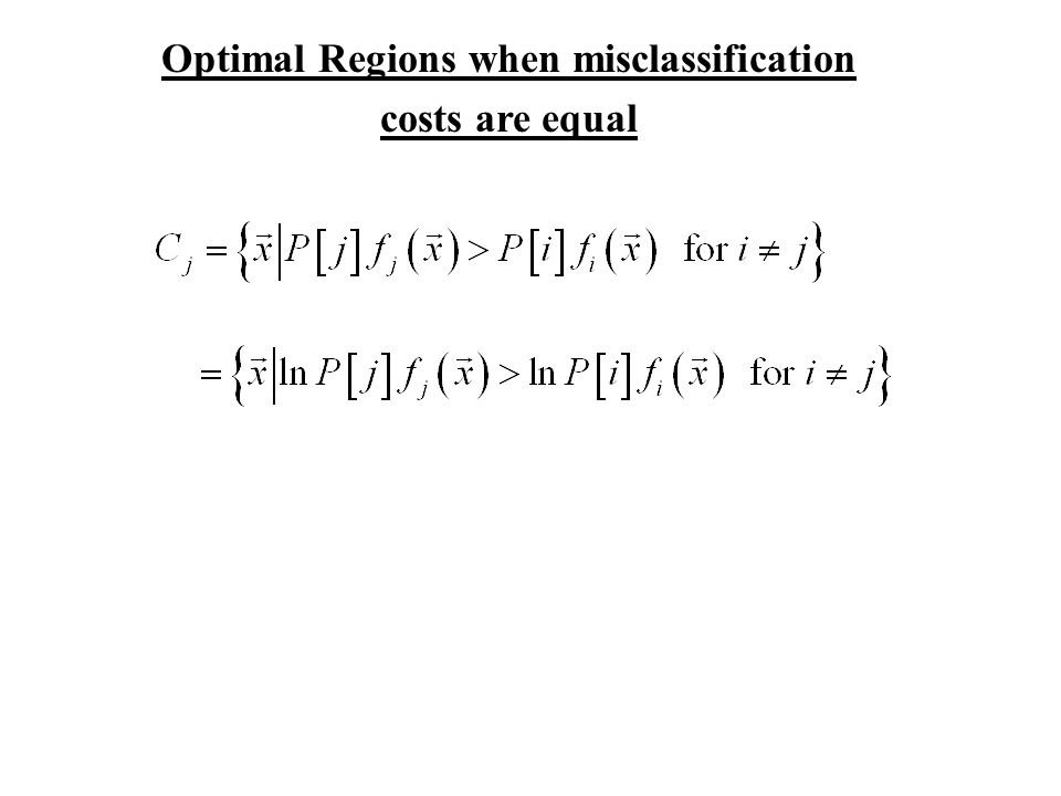 Optimal Regions when misclassification costs are equal