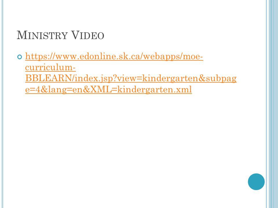 M INISTRY V IDEO https://www.edonline.sk.ca/webapps/moe- curriculum- BBLEARN/index.jsp view=kindergarten&subpag e=4&lang=en&XML=kindergarten.xml