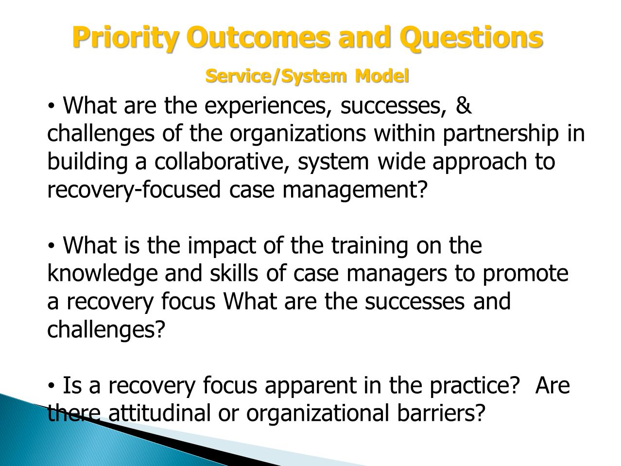 What are the experiences, successes, & challenges of the organizations within partnership in building a collaborative, system wide approach to recovery-focused case management.