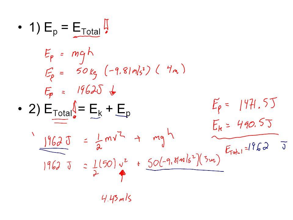 1) E p = E Total 2) E Total = E k + E p