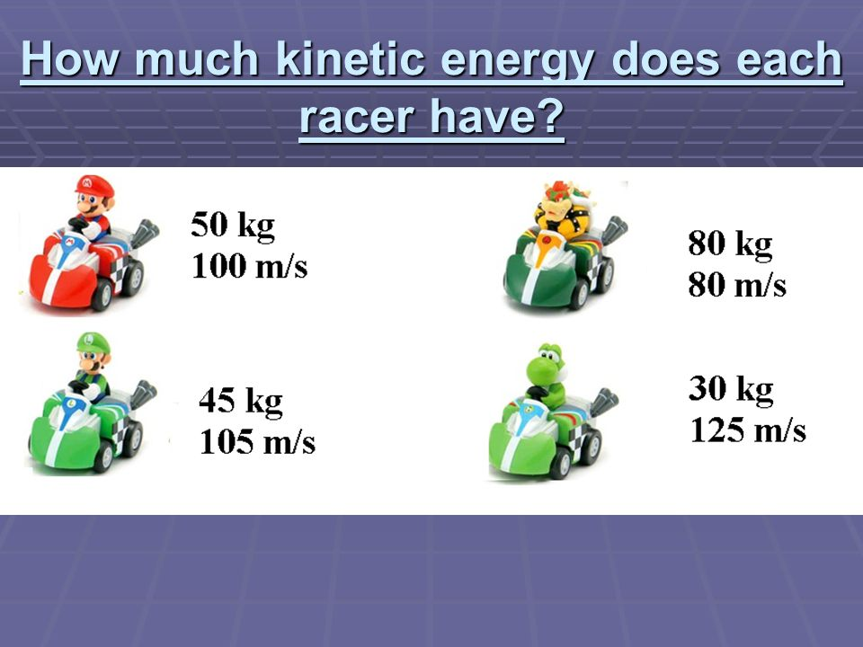 Try This:  Prove that work, Potential Energy, and Kinetic energy are the same for the following:  A block sitting at 0meters is slide up a frictionless inclined plane to a height of 80 meters.