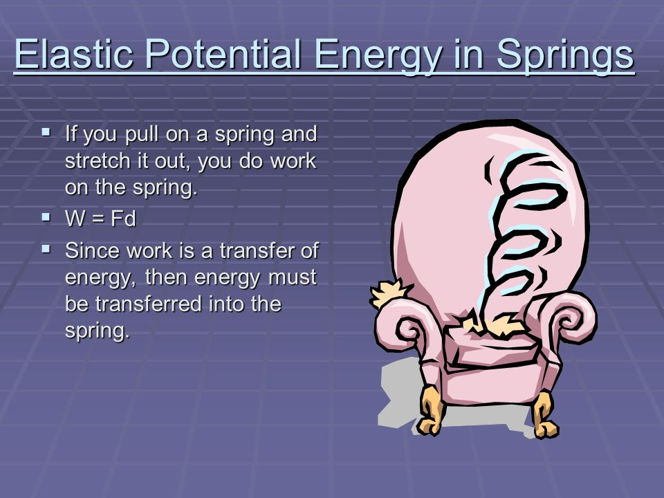 Elastic Potential Energy in Springs  If you pull on a spring and stretch it out, you do work on the spring.