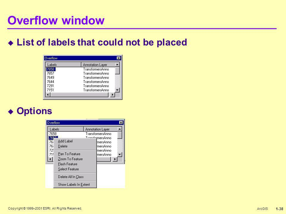 Copyright © 1999–2001 ESRI. All Rights Reserved. ArcGIS 1-38 Overflow window  List of labels that could not be placed  Options