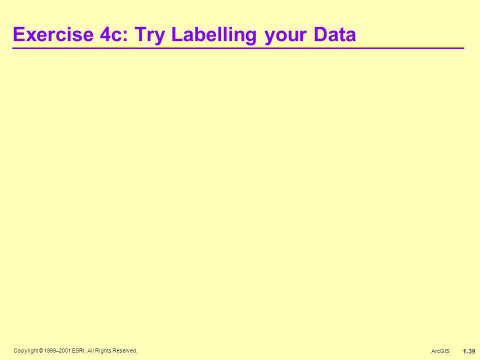 Copyright © 1999–2001 ESRI. All Rights Reserved. ArcGIS 1-39 Exercise 4c: Try Labelling your Data