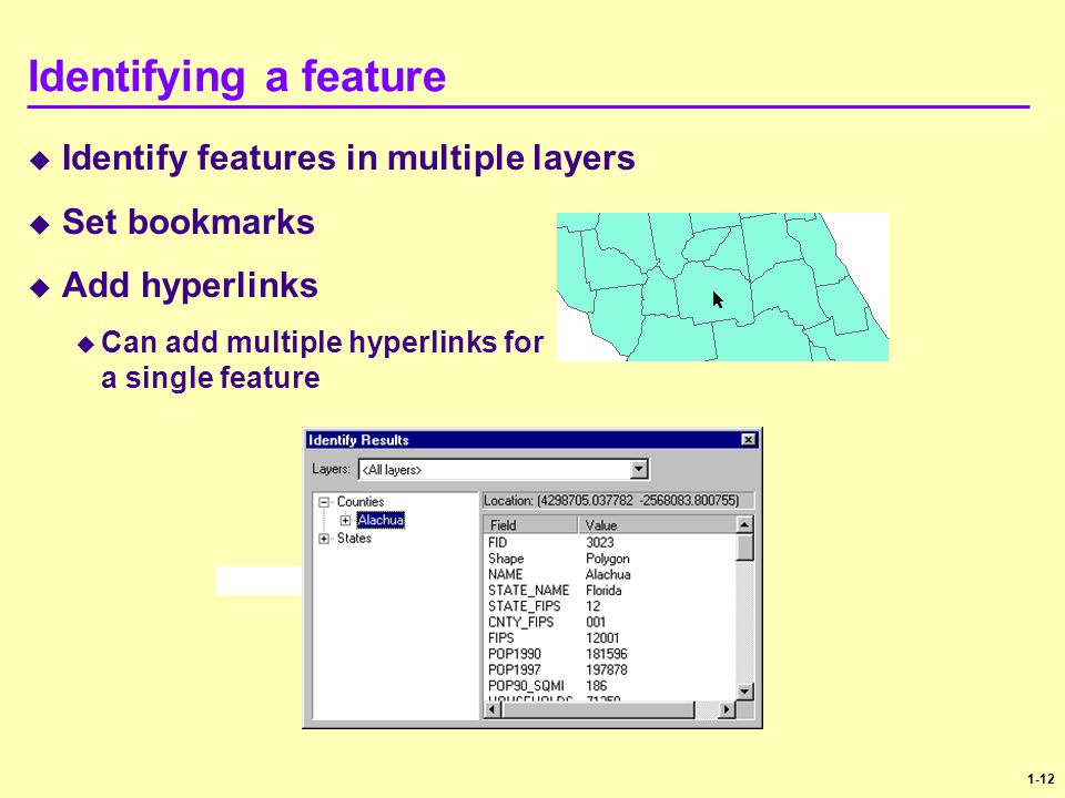 1-12 Identifying a feature  Identify features in multiple layers  Set bookmarks  Add hyperlinks  Can add multiple hyperlinks for a single feature