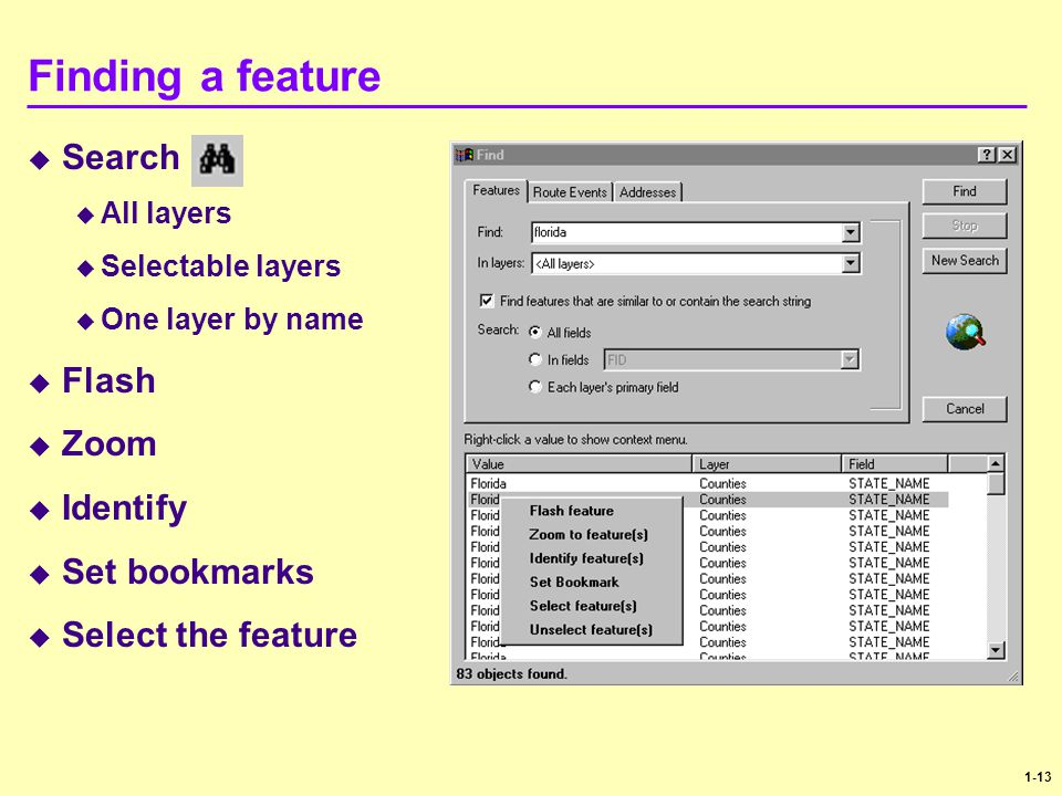 1-13 Finding a feature  Search  All layers  Selectable layers  One layer by name  Flash  Zoom  Identify  Set bookmarks  Select the feature