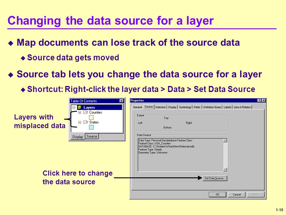 1-18 Changing the data source for a layer  Map documents can lose track of the source data  Source data gets moved  Source tab lets you change the