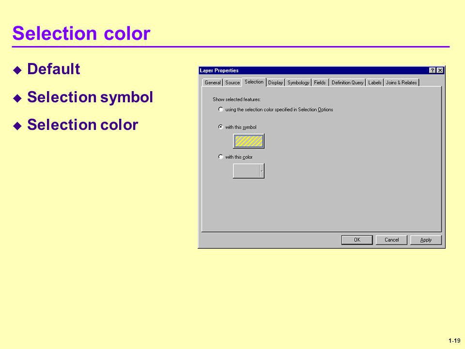 1-19 Selection color  Default  Selection symbol  Selection color