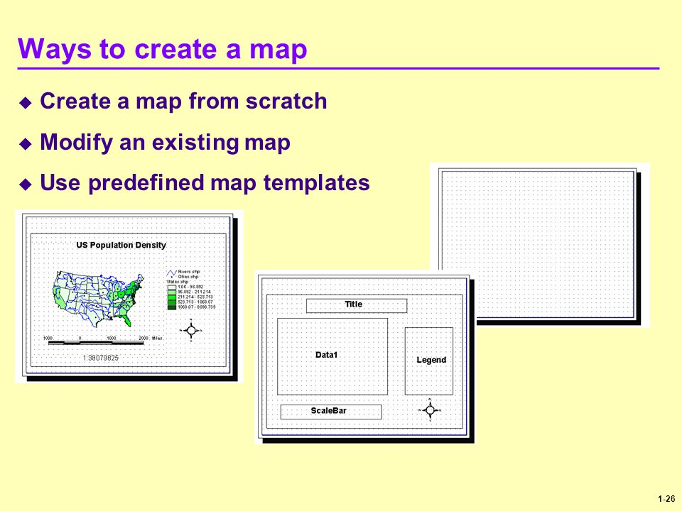 1-26 Ways to create a map  Create a map from scratch  Modify an existing map  Use predefined map templates