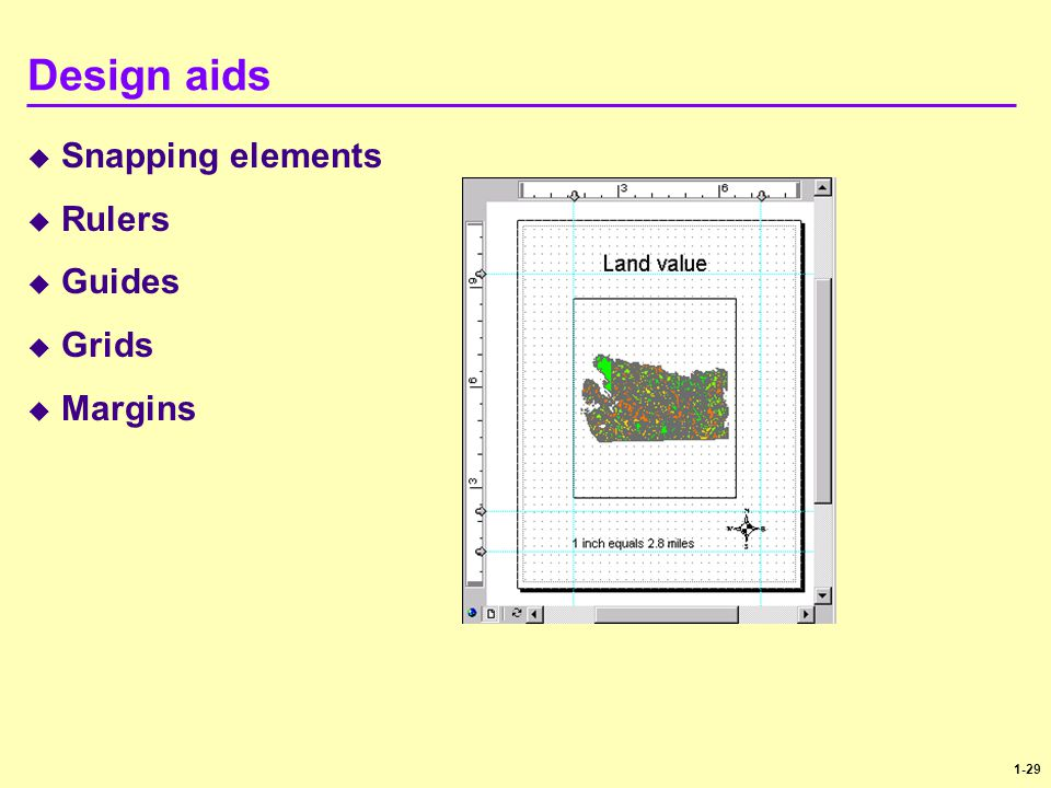 1-29 Design aids  Snapping elements  Rulers  Guides  Grids  Margins