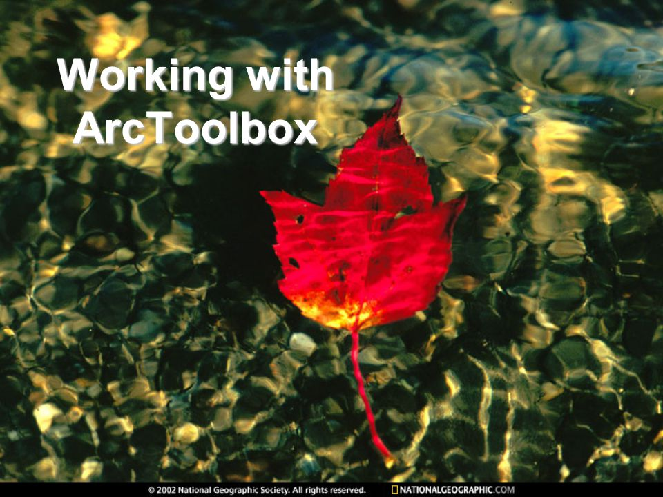 Working with ArcToolbox