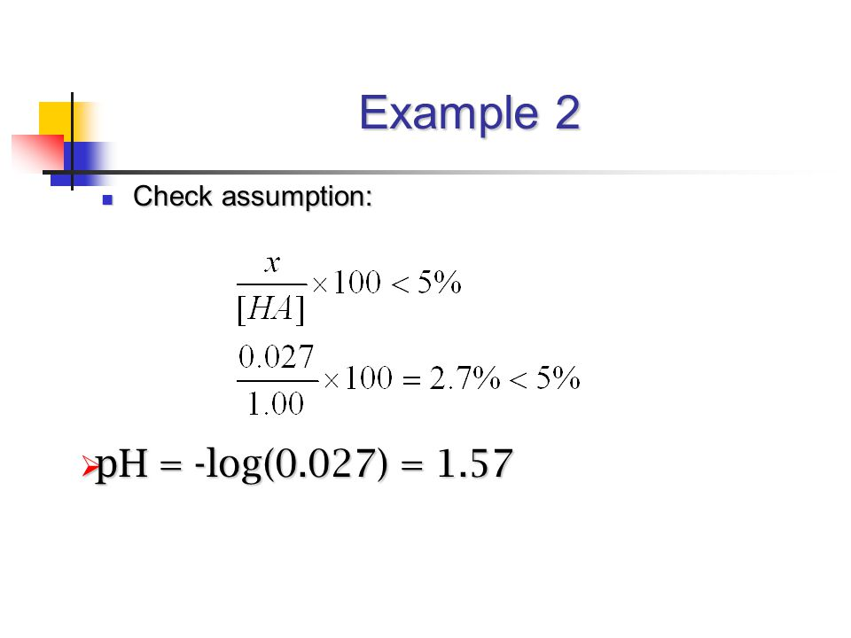 Example 2 Check assumption: Check assumption:  pH = -log(0.027) = 1.57