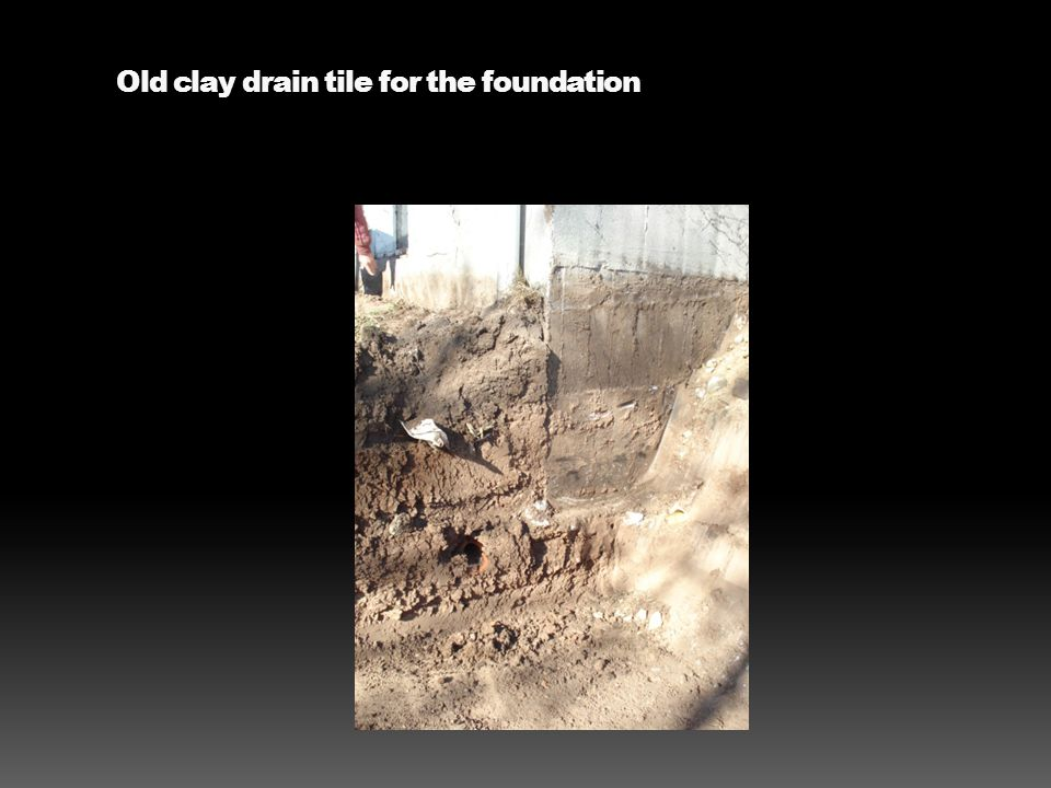 Old clay drain tile for the foundation