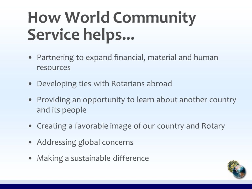 How World Community Service helps...