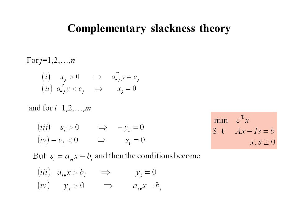 Complementary slackness theory For j=1,2,…,n and for i=1,2,…,m and then the conditions become