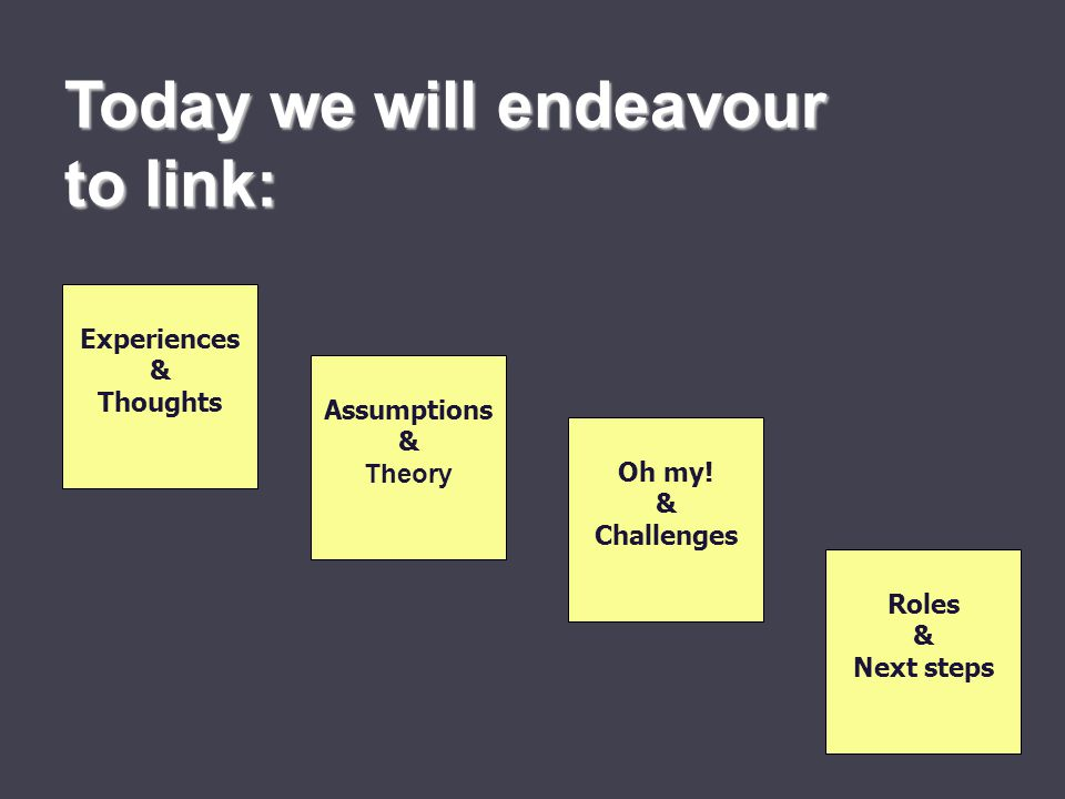 Today we will endeavour to link: Experiences & Thoughts Assumptions & Theory Oh my.