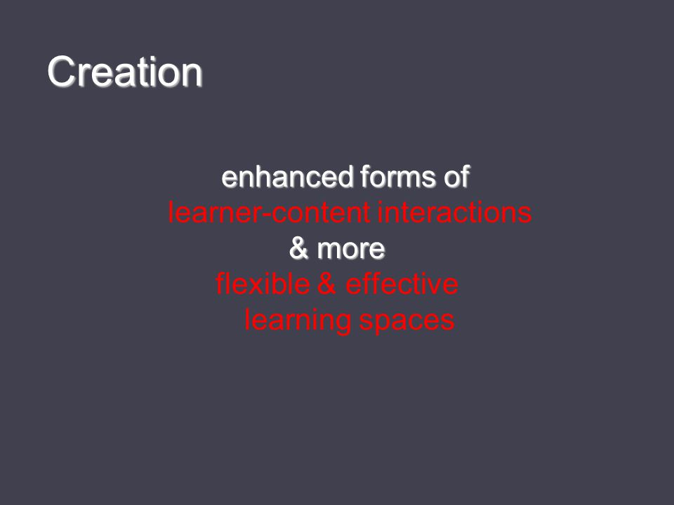 enhanced forms of enhanced forms of learner-content interactions & more flexible & effective learning spaces Creation