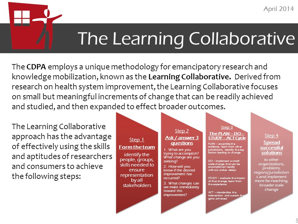 The Learning Collaborative The CDPA employs a unique methodology for emancipatory research and knowledge mobilization, known as the Learning Collabora