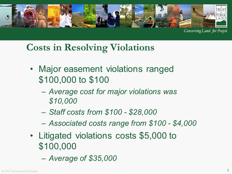 © 2002 The Trust for Public Land Conserving Land for People 8 Costs in Resolving Violations Major easement violations ranged $100,000 to $100 –Average cost for major violations was $10,000 –Staff costs from $100 - $28,000 –Associated costs range from $100 - $4,000 Litigated violations costs $5,000 to $100,000 –Average of $35,000