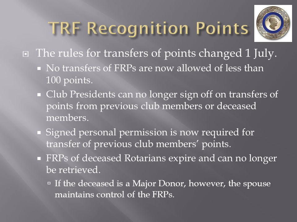  The rules for transfers of points changed 1 July.