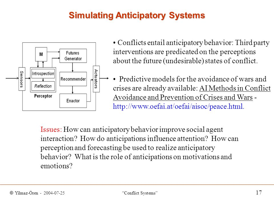 © Yilmaz-Ören - 2004-07-25 Conflict Systems 17 Simulating Anticipatory Systems Conflicts entail anticipatory behavior: Third party interventions are predicated on the perceptions about the future (undesirable) states of conflict.