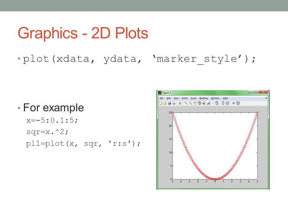 Graphics - 2D Plots plot(xdata, ydata, 'marker_style'); For example x=-5:0.1:5; sqr=x.^2; pl1=plot(x, sqr, r:s );