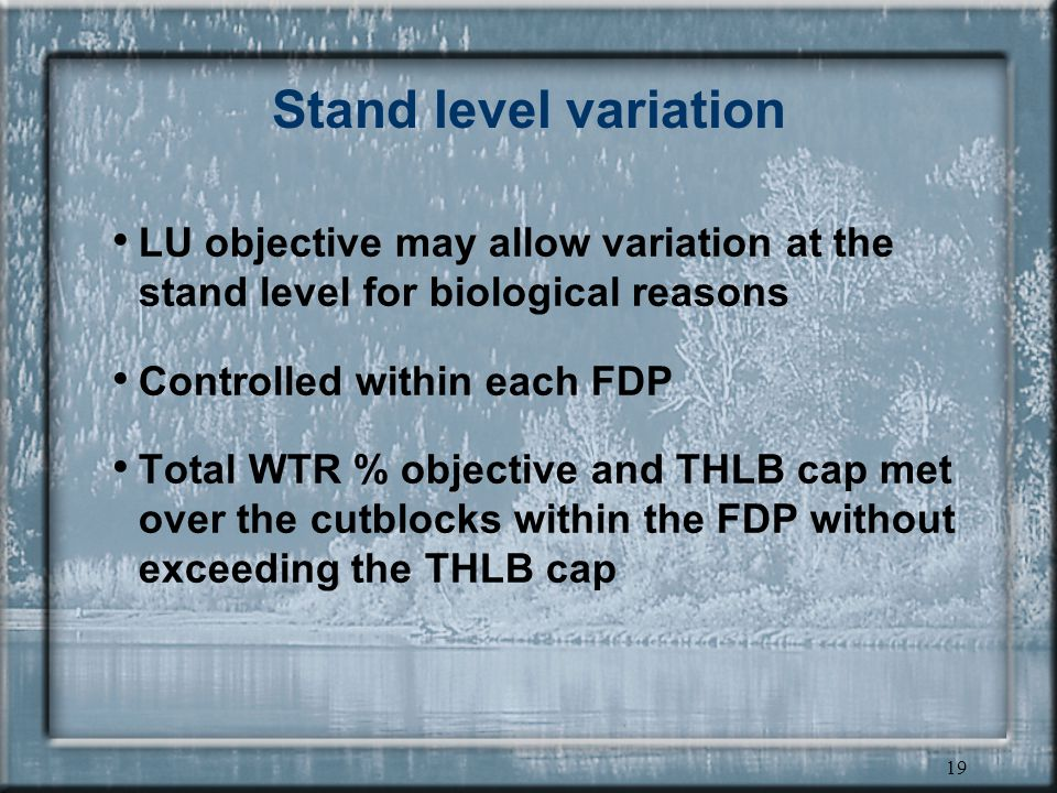 19 Stand level variation LU objective may allow variation at the stand level for biological reasons Controlled within each FDP Total WTR % objective and THLB cap met over the cutblocks within the FDP without exceeding the THLB cap