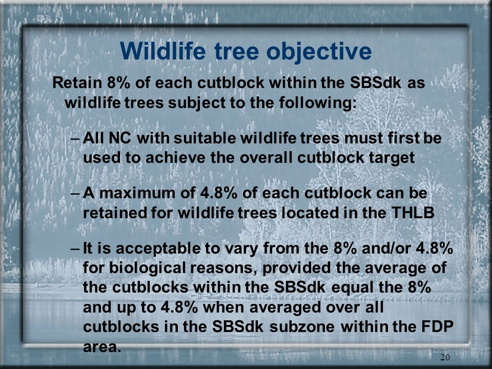 20 Wildlife tree objective Retain 8% of each cutblock within the SBSdk as wildlife trees subject to the following: –All NC with suitable wildlife trees must first be used to achieve the overall cutblock target –A maximum of 4.8% of each cutblock can be retained for wildlife trees located in the THLB –It is acceptable to vary from the 8% and/or 4.8% for biological reasons, provided the average of the cutblocks within the SBSdk equal the 8% and up to 4.8% when averaged over all cutblocks in the SBSdk subzone within the FDP area.