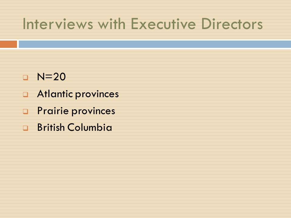 Interviews with Executive Directors  N=20  Atlantic provinces  Prairie provinces  British Columbia