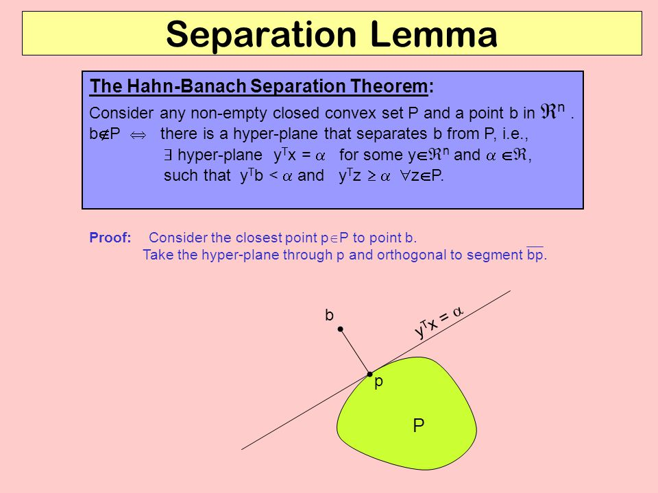 Separation Lemma The Hahn-Banach Separation Theorem: Consider any non-empty closed convex set P and a point b in  n.